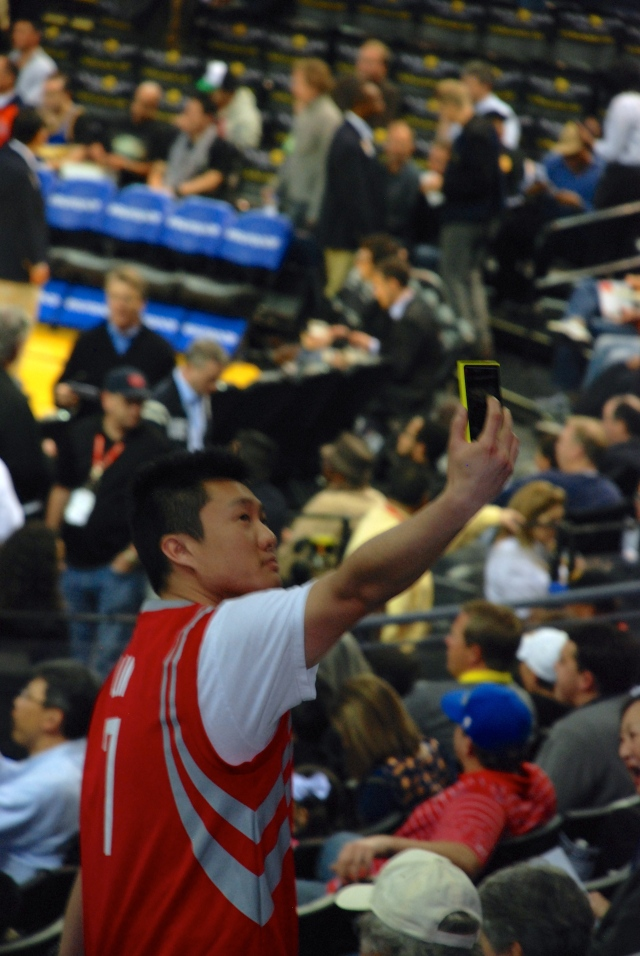 Rox fan in Oracle arena. There were a few that don Rocket Reds.